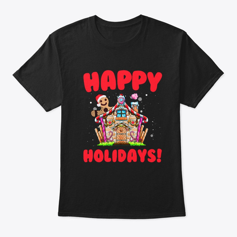 Happy Holidays Black T-Shirt Front