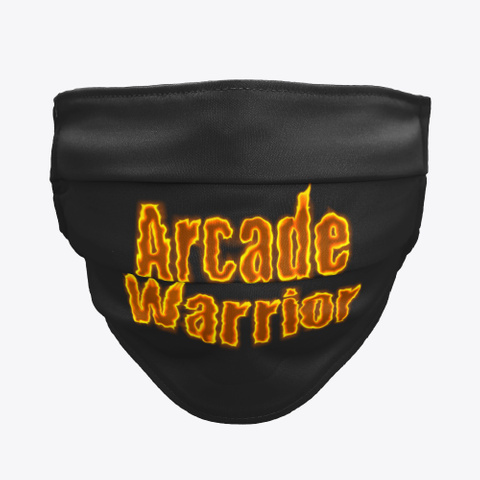 Arcade Warrior Cloth Face Mask Black T-Shirt Front