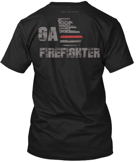 Ga Firefighter Black T-Shirt Back