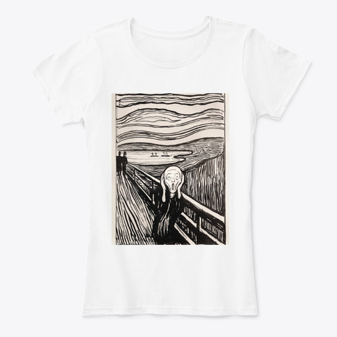 The Scream By Edvard Munch White T-Shirt Front