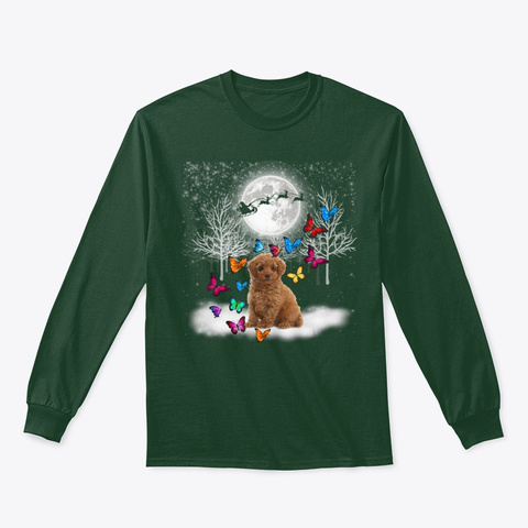 Cute Poodle Snow Christmas Butterfly Forest Green T-Shirt Front