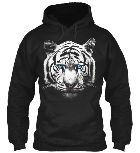 Crazy White Tiger Hoodie Black T-Shirt Front