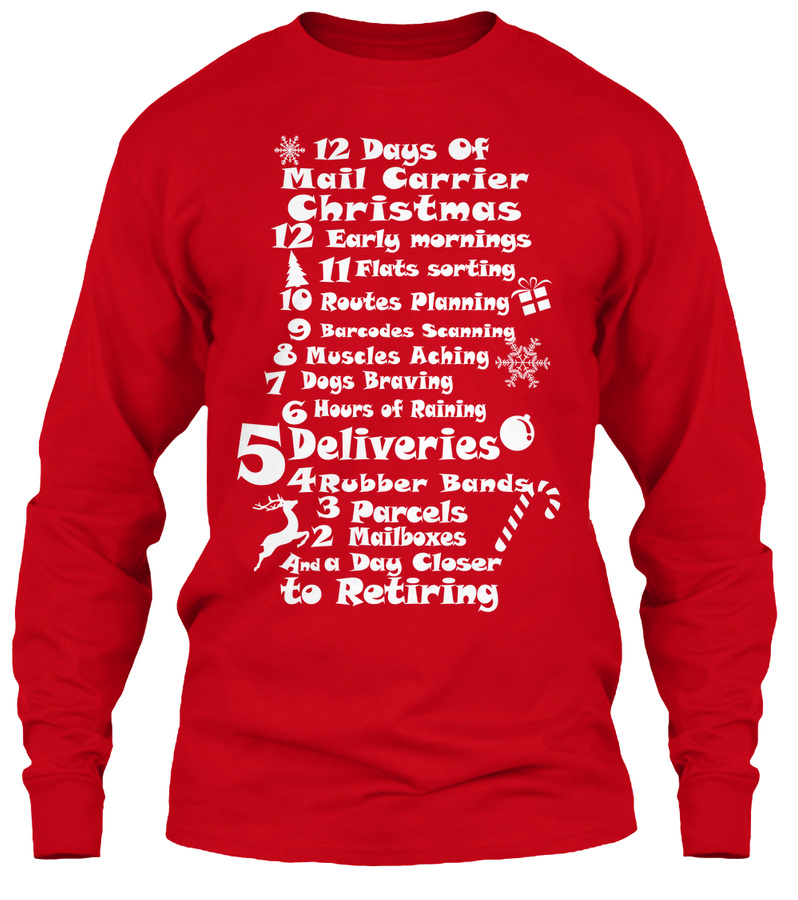 12 Days of Mail Carrier Christmas Unisex Tshirt