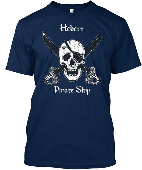 Hebert's Pirate Ship Navy T-Shirt Front