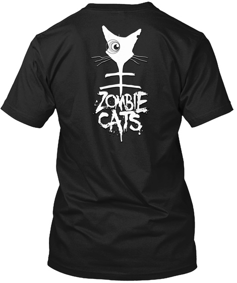 Zombie Cat On A Pile Of Skulls Black T-Shirt Back