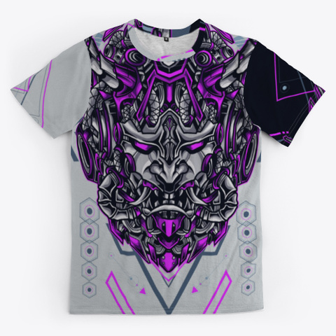 Japanese Evil Demon Mask Light Grey T-Shirt Front