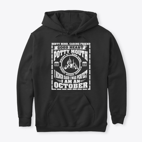 October Hoodie Gift Women Men King Queen Black T-Shirt Front