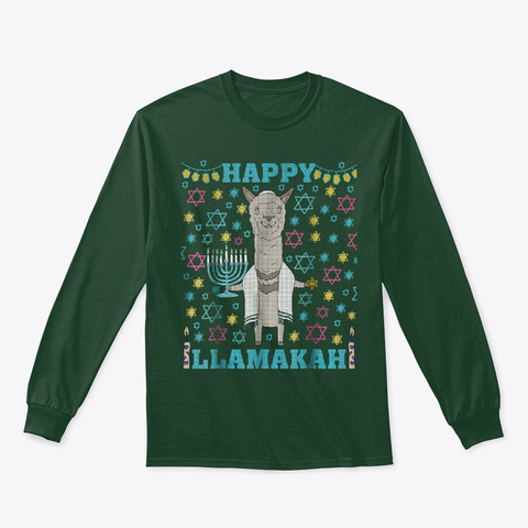 Llama Hanukkah Tacky Ugly Christmas Forest Green T-Shirt Front