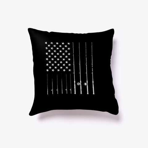 Fishing American Flag Fisherman Gift Black T-Shirt Front
