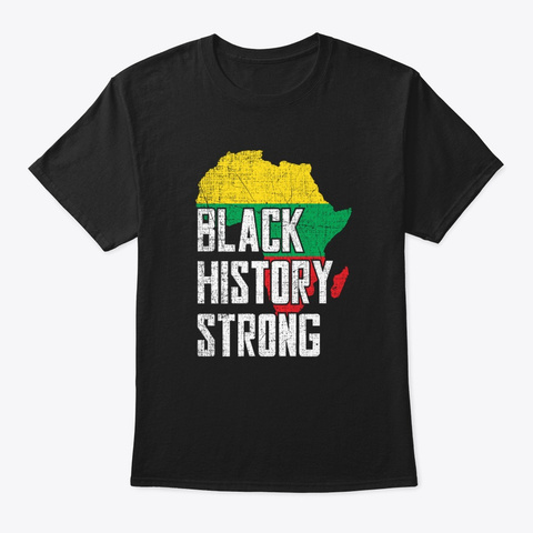 Black History Month Gift Africa Map Black T-Shirt Front