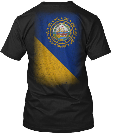 Seal Of The State Of New Hampshire 1776 Black T-Shirt Back