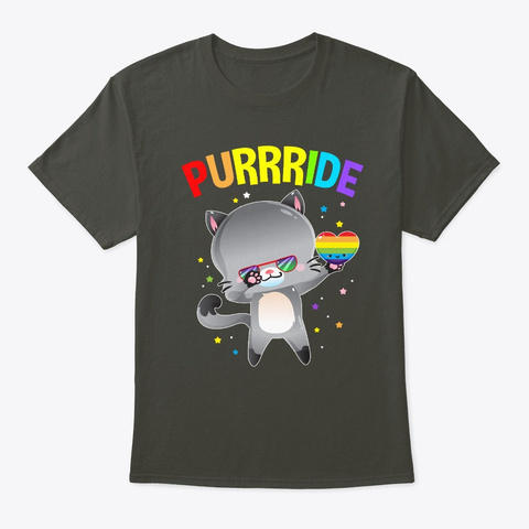 Dabbing Purrride Cat Lgbt Gay Pride Smoke Gray T-Shirt Front