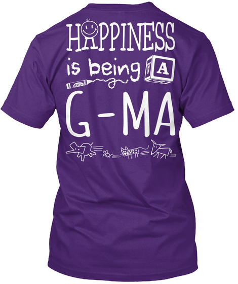 Happy G Ma Happiness Is Being A G Ma Purple T-Shirt Back