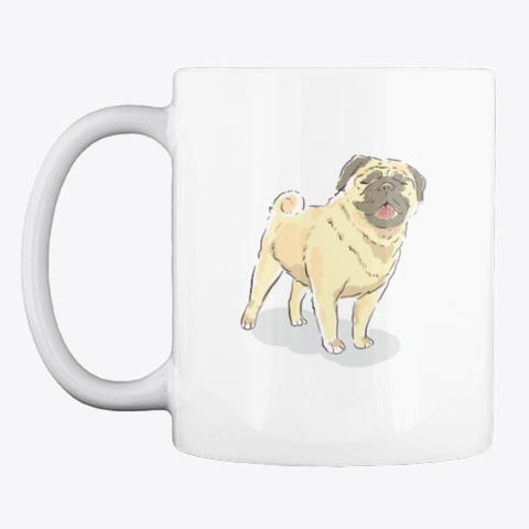 """Pug Love"" Watercolor Art For Pug Moms White T-Shirt Front"