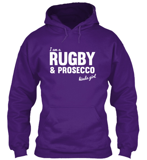 I Am A Rugby & Prosecco Kinda Girl Purple T-Shirt Front