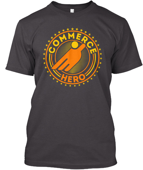 Commerce Hero Heathered Charcoal  T-Shirt Front