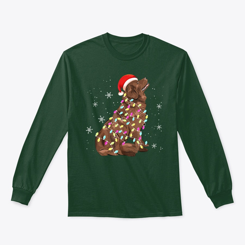 Newfoundland Christmas Light Gift Funny Forest Green T-Shirt Front