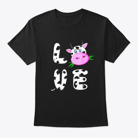 Love Cows Shirt Cow Spirit Animal Cool Black T-Shirt Front