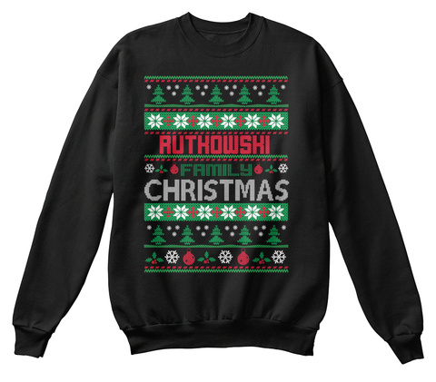 Authowshi Family Christmas Black T-Shirt Front
