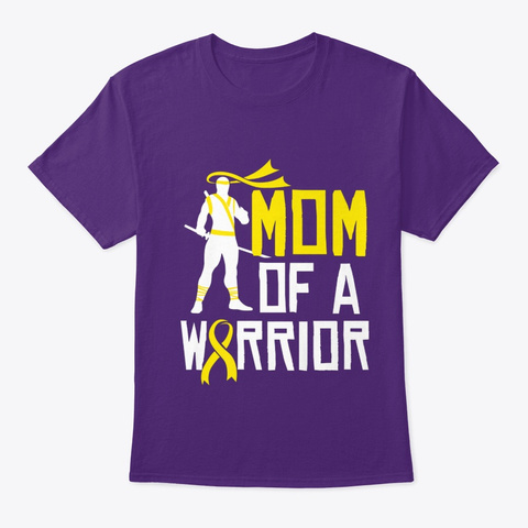 Childhood Cancer Awareness Gold Ribbon T Purple T-Shirt Front