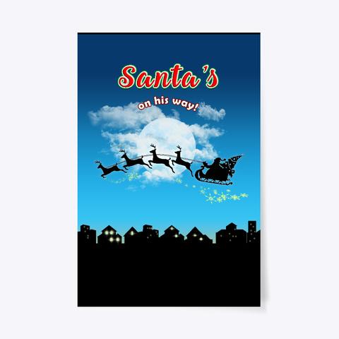 Santa Christmas Home Decor Art Poster Black T-Shirt Front