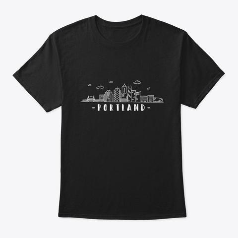 Portland Oregon Skyline Black T-Shirt Front