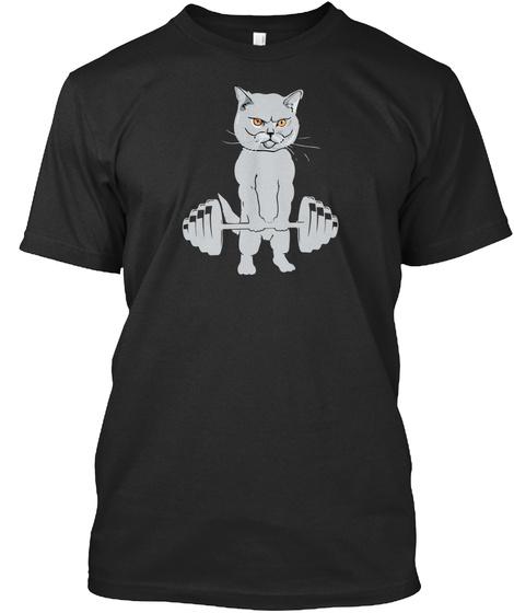 Cat Deadlift Powerlifting T Shirt Black T-Shirt Front