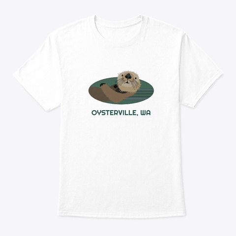 Oysterville Wa Otter Pnw Tribal White T-Shirt Front