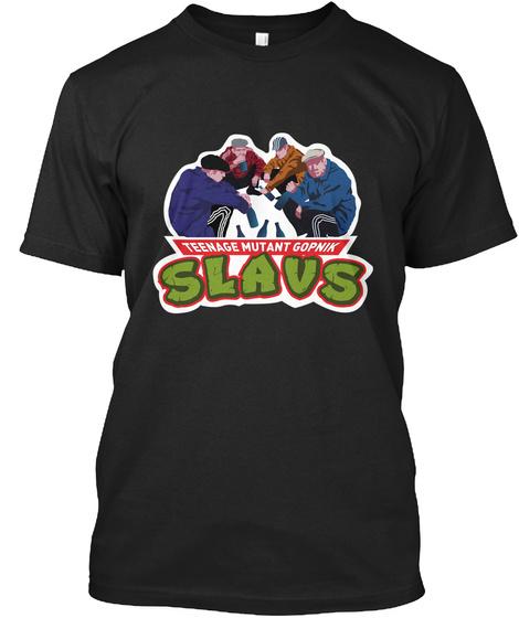 Teenage Mutant Gopnik Slavs Black T-Shirt Front