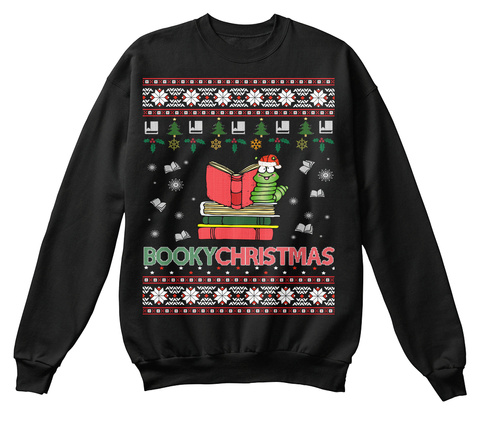 Ugly Christmas Sweater For Book Reader Black T-Shirt Front
