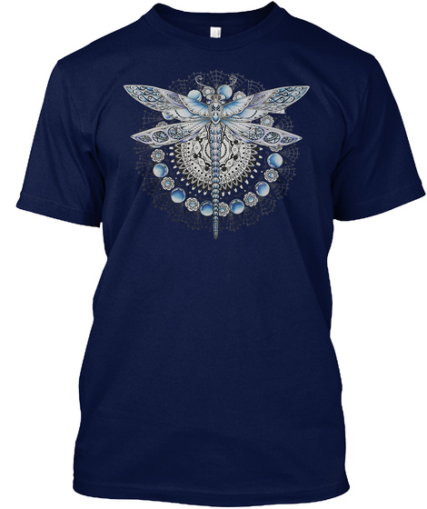Dragonfly Art 05 Navy T-Shirt Front