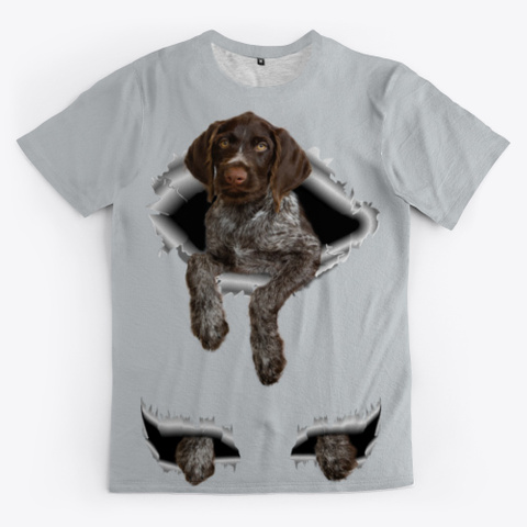 Wirehaired Pointing Griffon Light Grey T-Shirt Front