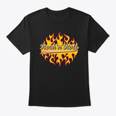 Rock N Roll   Vintage/Retro Flames Logo Black T-Shirt Front