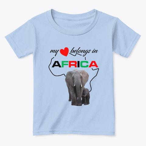 African Elephant Mother & Child Light Blue T-Shirt Front