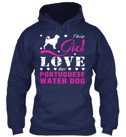 Portuguese Water Dog Gift Shirt. Navy T-Shirt Front