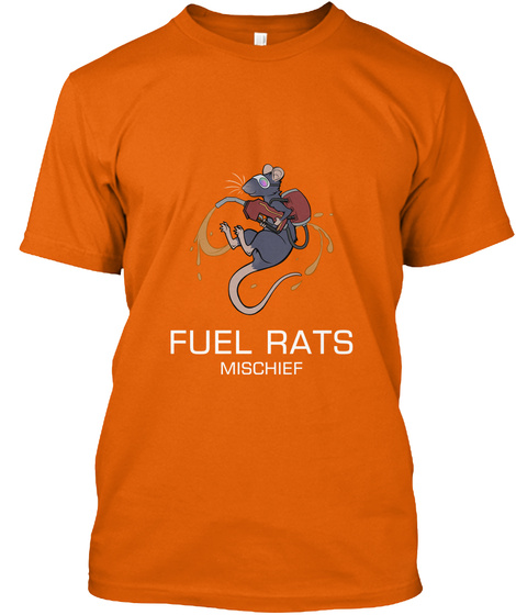 Fuel Rats Mischief Orange T-Shirt Front