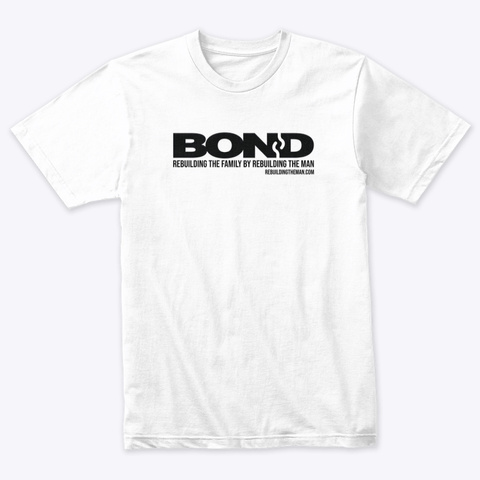 Bond Logo (Original) Black Ink Heather White T-Shirt Front
