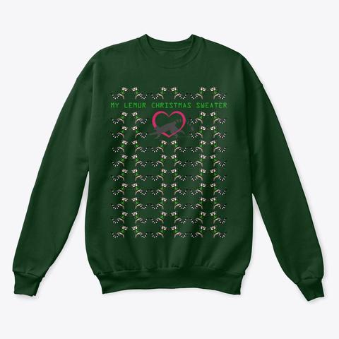Lemur Christmas Sweater Deep Forest  T-Shirt Front