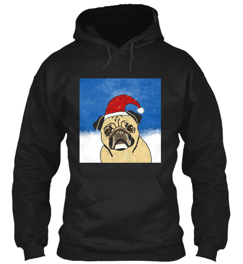 Pug Dog In Snow Christmas Watercolor Art Black T-Shirt Front