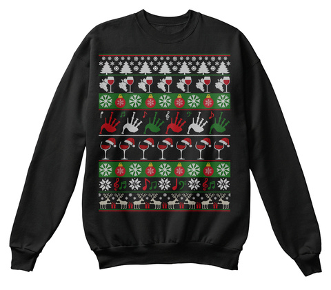 Bagpipe Wine Ugly Christmas Sweater Gift Black T-Shirt Front