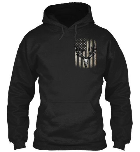 Faded Deer Skull Flag Black T-Shirt Front