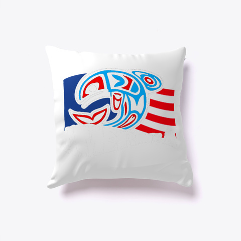 America Us Flag Pillow Cover White T-Shirt Front