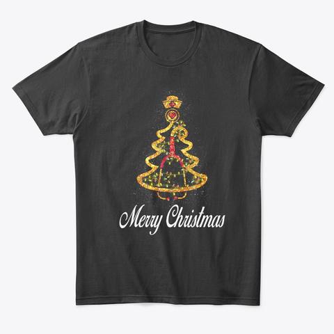 Nurse Christmas Tree Shirt Black T-Shirt Front