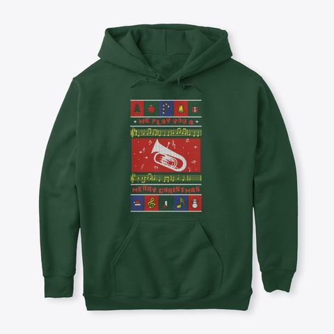 Baritone Ugly Christmas Forest Green T-Shirt Front