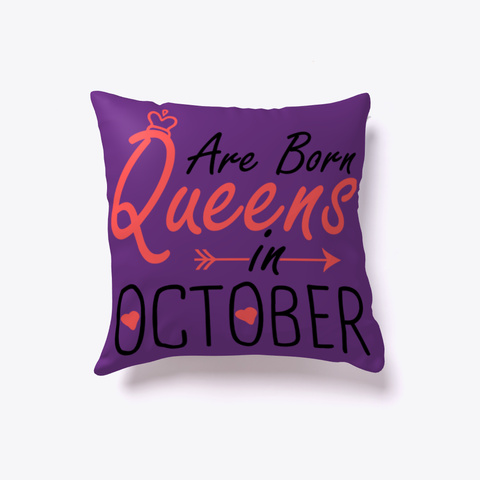 Queens Are Born In October Best Gift  Purple T-Shirt Back