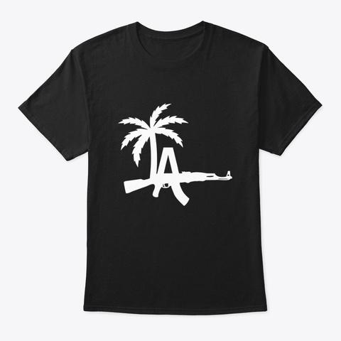 La Ak47 Palm Trees Black Black T-Shirt Front