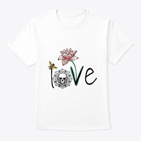 Skull Art Love White T-Shirt Front