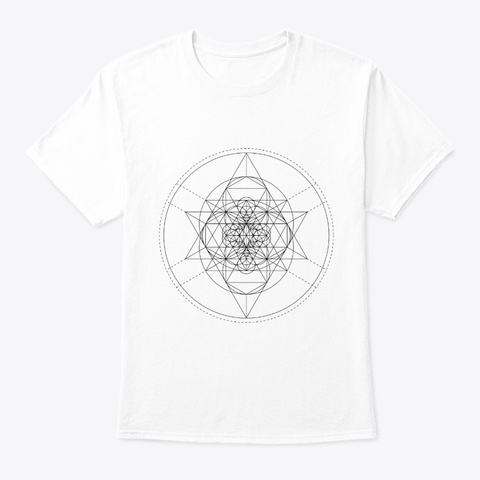 Sacred Geometry Tessepyramid Black White T-Shirt Front