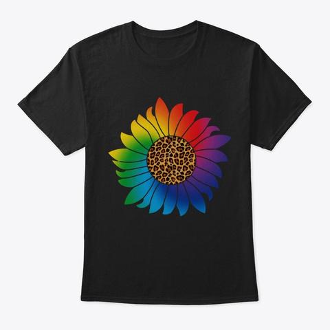 Sunflower Leopard & Rainbow Black T-Shirt Front