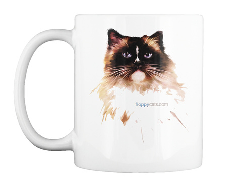 Limited Edition Ragdoll Cat Charlie Mug! White T-Shirt Front